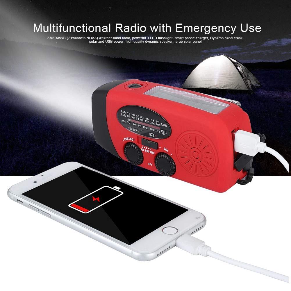 300mAh Power Bank f/ür Telefon Blau Outdoor tragbare Solar Power Handkurbel USB Lade Wetter AM//FM-Radio mit 3 LED Taschenlampenfackel VBESTLIFE Notfall Radio Camping Reisen Wasserdichte