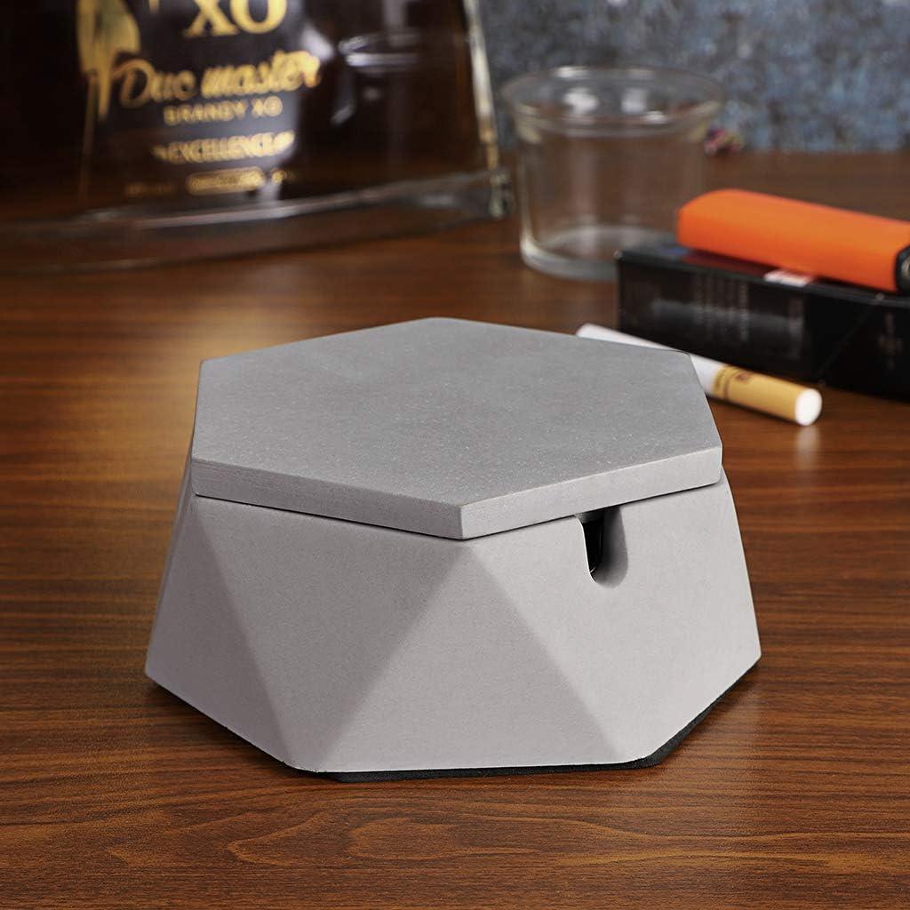 grigio Sumnacon Posacenere in cemento con coperchio posacenere per fumatori ufficio e decorazione della casa rivestimento in acciaio INOX per sigarette