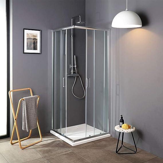 Cabina de ducha deslizante de cristal 75 x 75 de ángulo luna ...