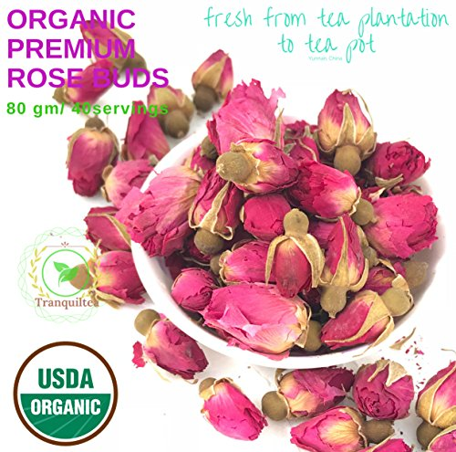 Tranquil tea, Culinary Grade USDA Organic Dried Red RoseBuds Rose Petals (Infusions, Baking, Teas, Crafts)