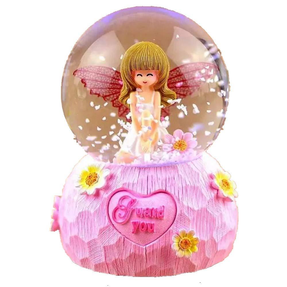 Amazon.com: Electric Pink Snow Globe, Art Angel Snowglobe Glitter ...