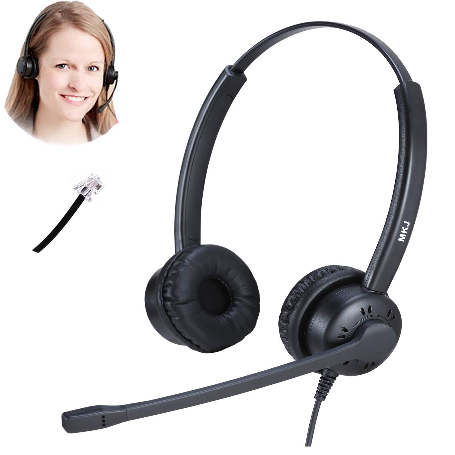 Telephone Headset Corded RJ9 Dual Ear Phone Headset with Microphone for Altigen Polycom Gigaset Avaya Aastra AudioCodes Toshiba Fanvil Mitel Nortel