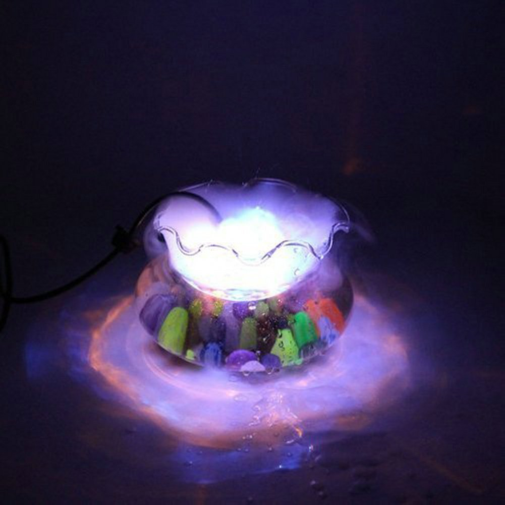 Fuloon 12 LED Multicolore Feux De Brouillard / Brumisateur / Diffuseur avec AC Adapteur pour Fontaine Aquarium