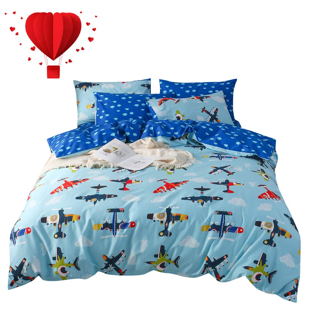 BuLuTu Plane Boys Duvet Cover Queen Blue Cotton for Kids Teens,World Travel Theme American Airplane Print Pattern,3 Pieces Bedding Duvet Cover Set with Zipper Closure,Full/Queen,No Comforter