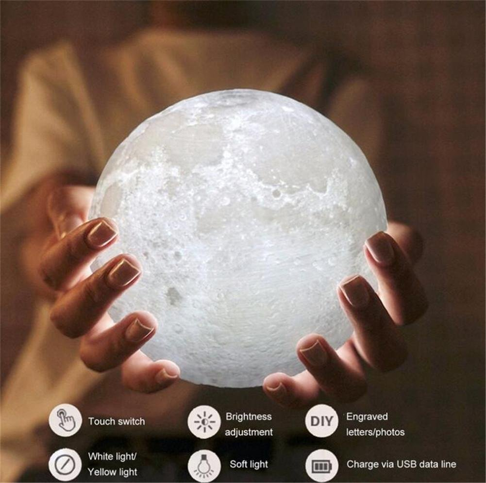 SQCOOL Mondlicht 3D Modelle Mode Lichter Nacht Beleuchtung nachtlicht Zwei-Farbe Touch Lampe kreative Lampe USB Lade