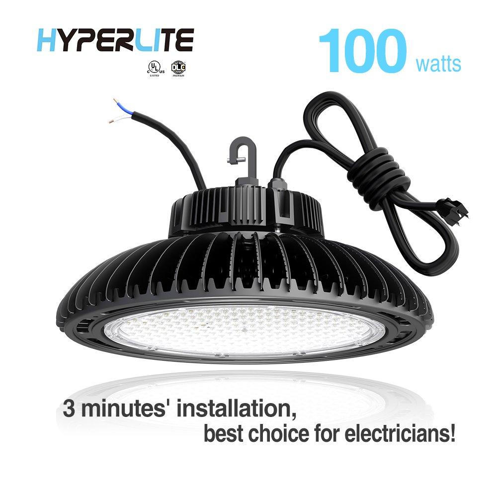 Hyperlite 100W UFO LED High Bay Light High Bay Lighting LED,UL/DLC4.2Premium/FCCApproved 5'wireswithUSplug DimmableIP65,5yearswarranty,5000K