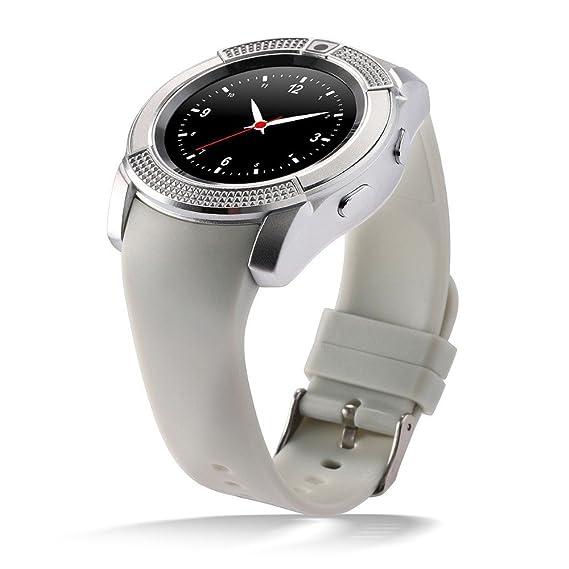 DXABLE V8 Reloj Inteligente, Deportes Fitness Tracker Bluetooth Reloj de Pulsera con Tarjeta SIM y Ranura para Tarjeta TF cámara Mensaje notificación ...