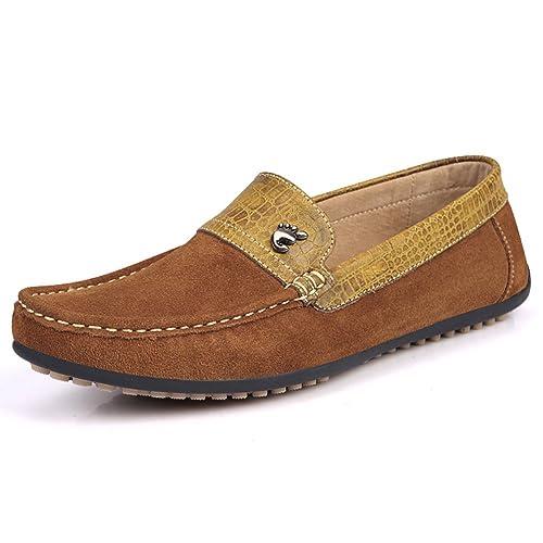 Yaer Mocasines de Ante de Los Hombres, Casual Estilo de Empalme Zapatillas de Paseo Mocasines para Botes: Amazon.es: Zapatos y complementos