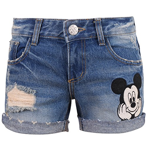 Mickey Denim - Disney Vintage Distressed Washed Cotton Denim Mickey Mouse Summer Roll-up Shorts (pants-256-1-M)