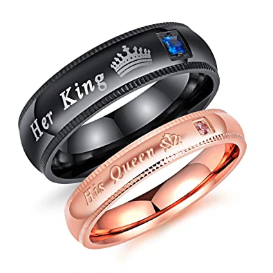 Amazon.com: Fate Love Jewelry - Juego de 2 anillos de pareja ...