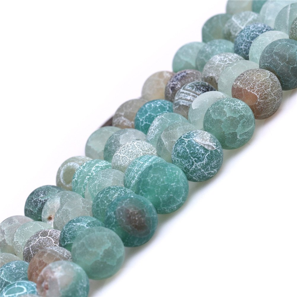 SHGbeads Round 8mm Frost Green Agate Gemstone Loose Beads Energy Stone Healing Power for Jewelry Making 15'' Sweet & Happy Girl' s ART0121