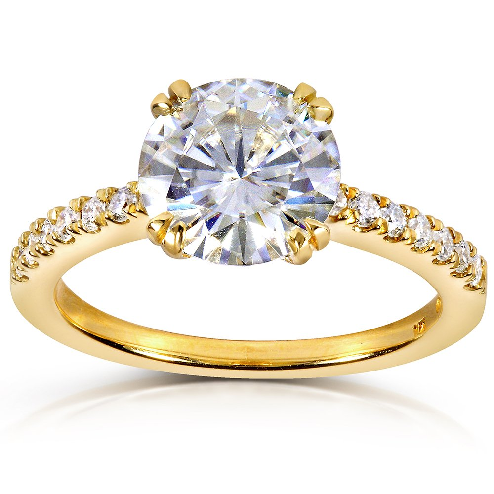 Round-cut Moissanite Engagement Ring with Diamond 2 1/10 CTW 14k Yellow Gold, Size 6.5