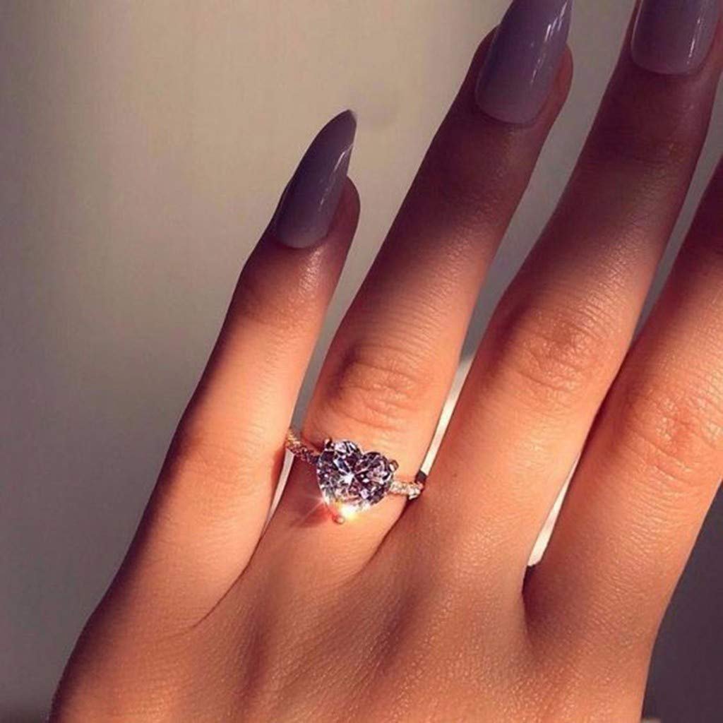 Allywit Personalized Metal Full Diamond Micro Inlaid Zircon Female Engagement Wedding Ring Jewelry Gift 8, Silver