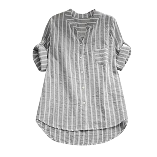 f1ff078b Shybuy Women Long Sleeve Striped Shirts V Neck Button Down Blouses Ladies Cuff  Sleeve High Low