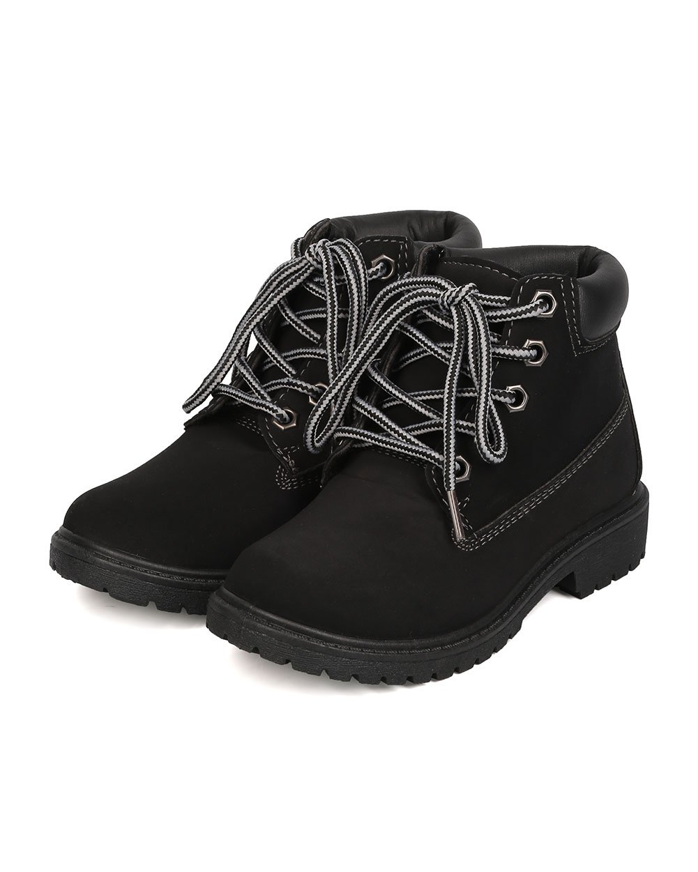 Nubuck Round Toe Lace Up Lug Sole All Weather Ankle Boot (Toddler/Little Girl/Big Girl) FA28 - Black (Size: Toddler 9) by Refresh (Image #5)