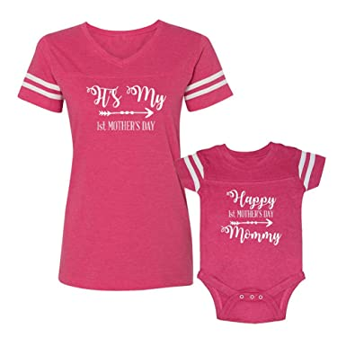 5967399ae Amazon.com: We Match!!!!!!!! - It's My First Mother's Day - Matching  Women's Football T-Shirt & Baby Bodysuit Set: Clothing