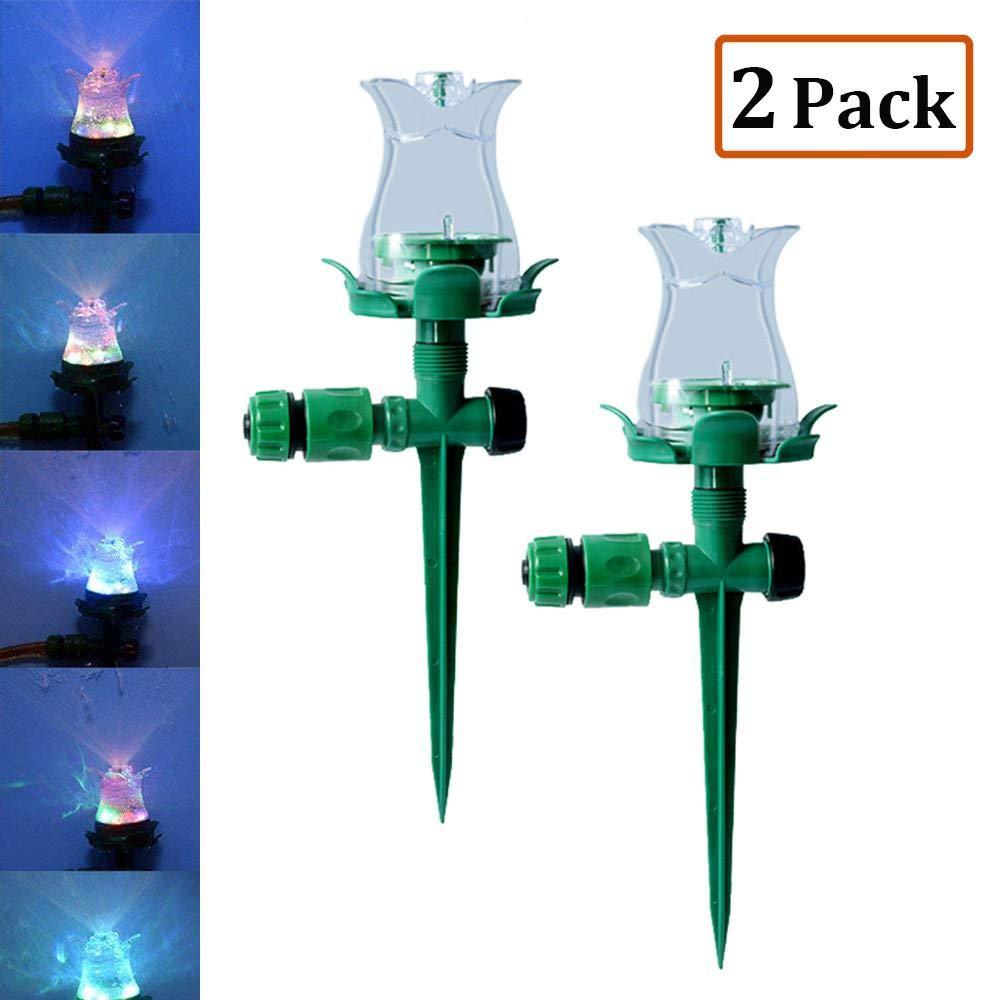 Umiwe Garden Sprinkler,Hydroelectric Power 5 Colors LED Garden Water Sprinklers System