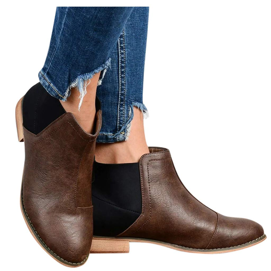 Womens Chelsea Boot,Ladies Fashion Zipper Solid Comfort Leather Mid Heel Pointed Toe Leather Ankle Short Boot