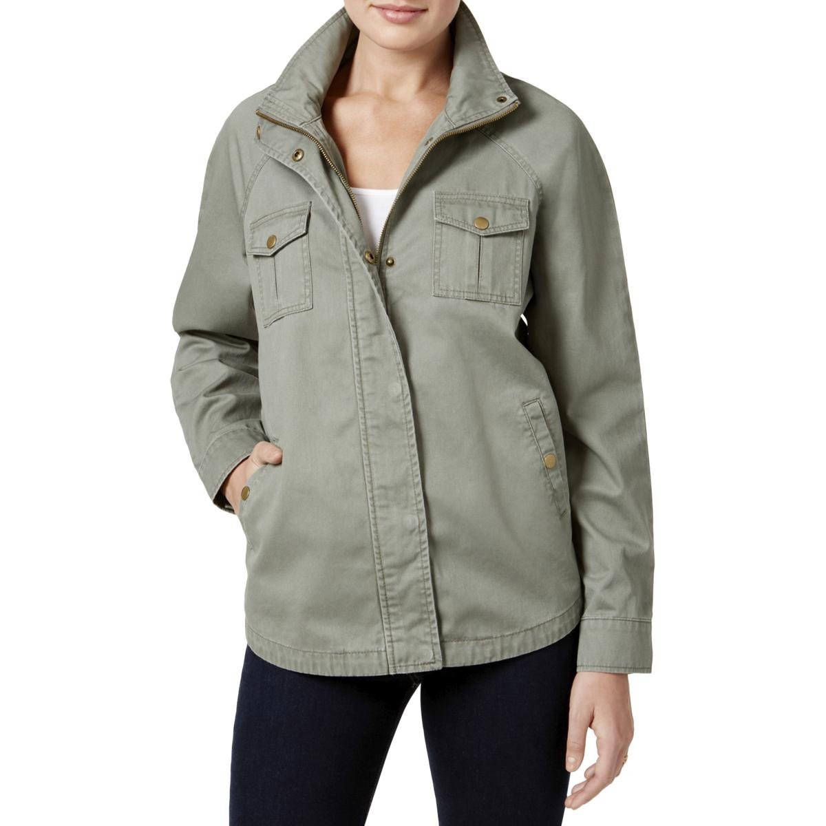 Style & Co.. Womens Petites Twill Embroidered Jacket Green PS