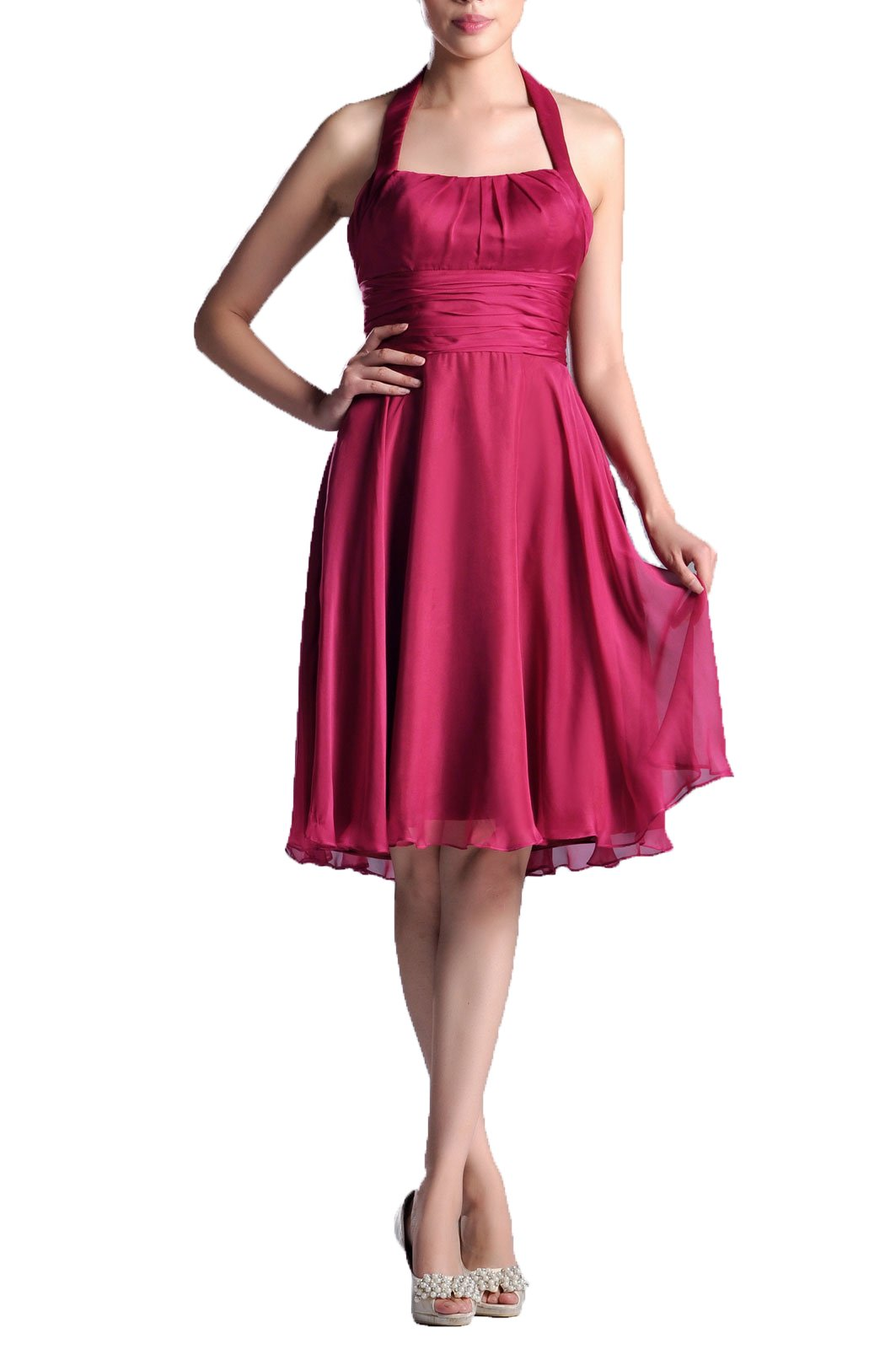 Adorona Natrual Chiffon A-Line Halter Knee Length Special Occasion Bridesmaid Dress, Color Sage,Customized by Adorona