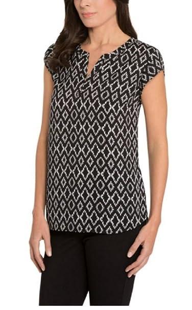 ea0a198a666208 Hilary Radley Printed Short Sleeve Blouse (Poppy) at Amazon Women s ...