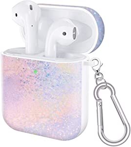 baozai Upgrade AirPods Case Silicone Protective Cover [Front LED Visible] Compatible with Apple Airpod 1 & 2 & Wireless Charging Case, Iridescence