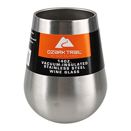 b83ea5504a31 Image Unavailable. Image not available for. Color: Ozark Trail 14 OZ. Vacuum-Insulated  Stainless Steel Wine Glass