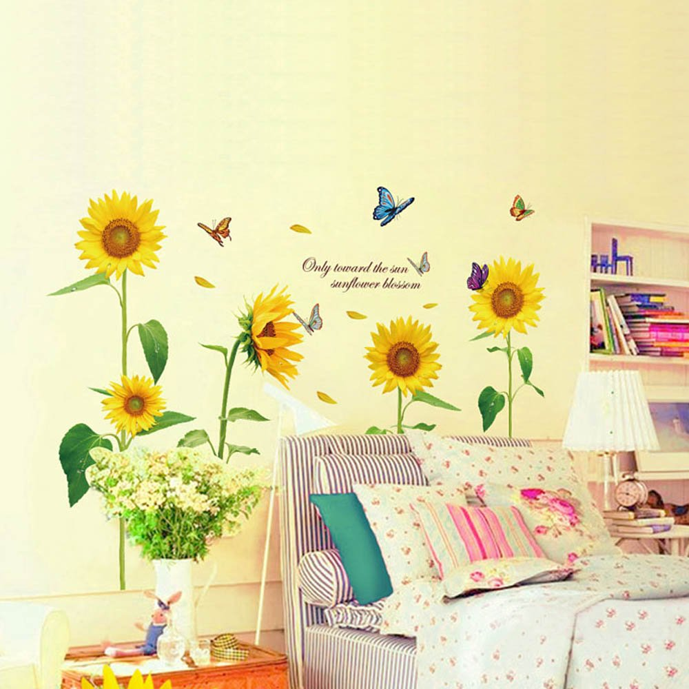 Amazon.com: Sunshine Sunflower Wall Stickers Living Bedroom ...