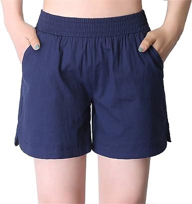 Dunland Mujer Pantalón Corto Algodón Lino Delgado cómodo Casual ...