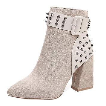 Mujer botines Casual Remache de clavos,Sonnena ❤ Moda Casual Boots Las mujeres rematan los zapatos planos inferiores para el partido Hasta el tobillo ...