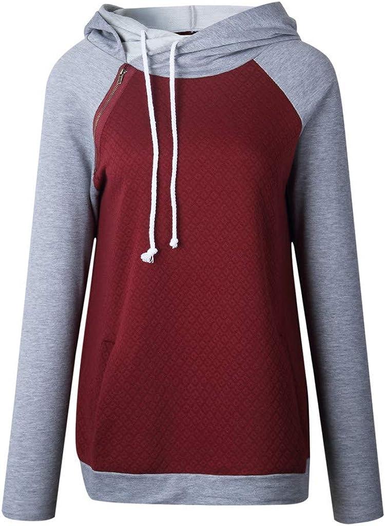 Women Oblique Zipper Hoodies Winter Long Sleeve Hooded Raglan Sweatshirt Top Jacket Coat Tunic Pullovers with Pocket