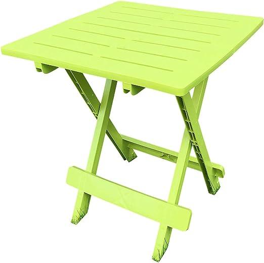 UK-Gardens – Mesa de jardín de plástico de resina de color verde ligero plegable al aire libre Camping mesa auxiliar: Amazon.es: Jardín