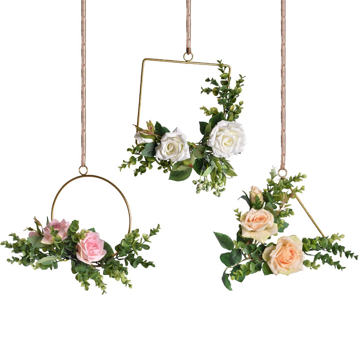 Pauwer Floral Hoop Wreath Set of 3 Artificial Rose Flower and Eucalyptus Vine Wreath for Wedding Backdrop Wall Decor by Pauwer