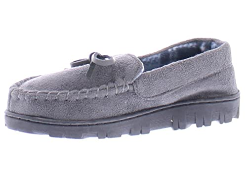 Toddler Slippers for Kids Moccasins,Little Boys Slippers,Kid Indoor House Shoes Grey Little