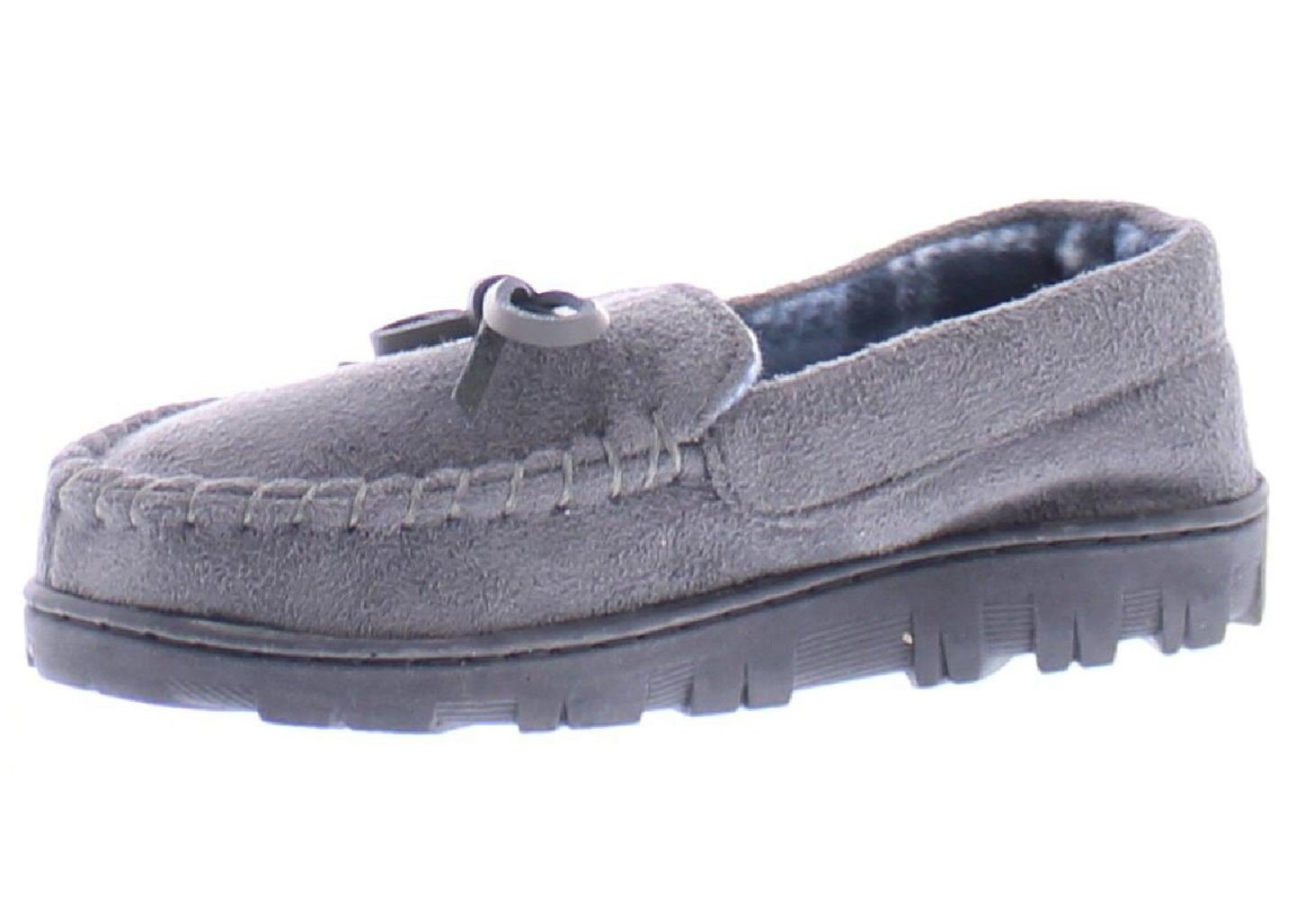 Gold Toe Boy's Faux Suede Flannel Plaid Fleece Shearling Lined Slip-On Moccasin Slipper Loafer Shoes Grey M 13-1