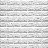 Baiyu 3D White Imitation Brick Wallpaper Wall Stickers Stereoscopic Waterproof Removable Decoration TV background Bedroom Living Room Restaurant Wall Decor--Size 70*77cm