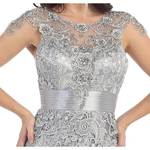 Royal Queen RQ7182 Womens Formal Cap Sleeve Demure Evening Gown 50 ... 0ff611552