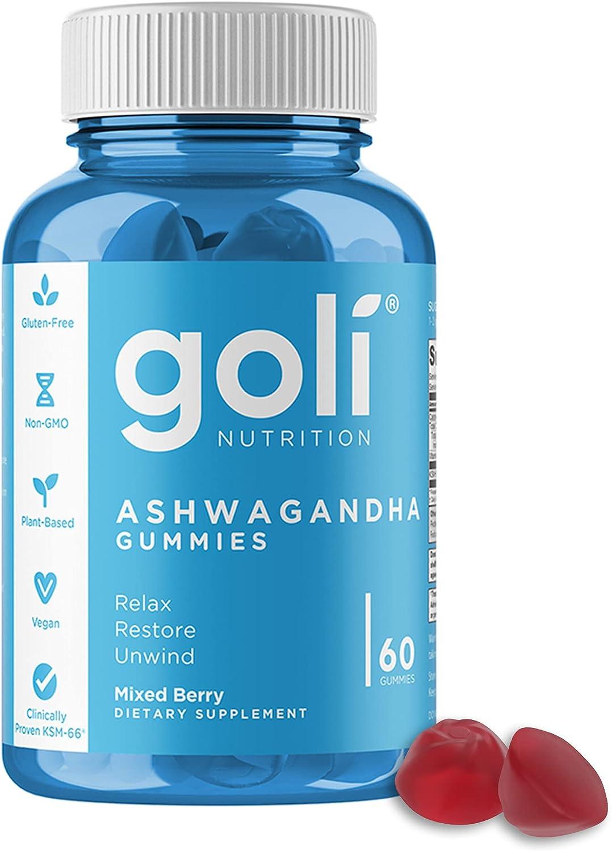 ASHWA Vitamin Gummy by Goli Nutrition - Ashwagandha Gummies - Relax. Restore. Unwind. (Mixed Berry, KSM-66, Vegan, Plant Based, Non-GMO, Gluten-Free & Gelatin Free - 60 Count)