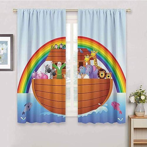 Noahs Ark Decor Collection Black Out Window Curtain 2 Panel