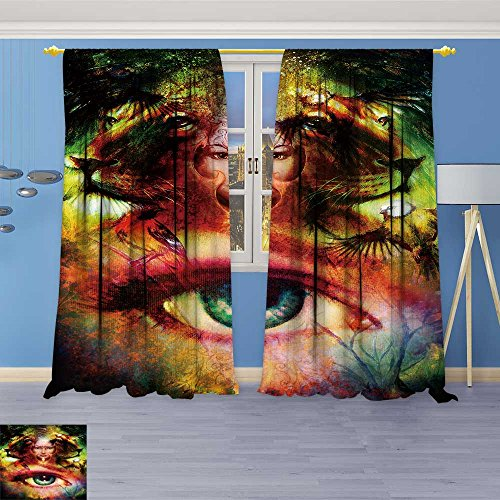 SOCOMIMI Embossed Thermal Weaved Grommet Blackout Curtains Paint Mighty Lion Head and Mystic Woman face with Bird Blocks up to 80% of Sunlight- Premium Draperies 72W x 96L inch