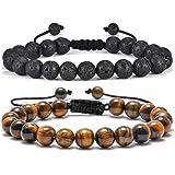 Tiger Eye Mens Bracelet Gifts - 8mm Tiger Eye Lava Rock Stone Mens Anxiety Bracelets, Stress Relief Adjustable Tiger Eye Brac
