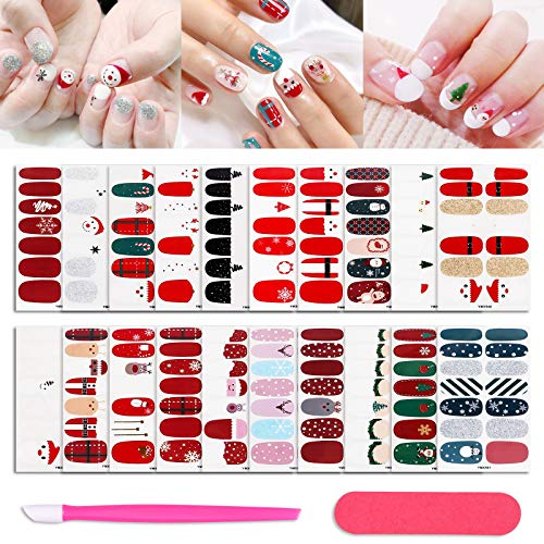20 Sheets Soild Color Christmas Gel Nail Strips Cute Nail Polish Glitter Stickers Street Self-Adhesive Fake Nails Art Designer Decal Xmas Design Manicure Set with Nail File & Pusher for Women Girls