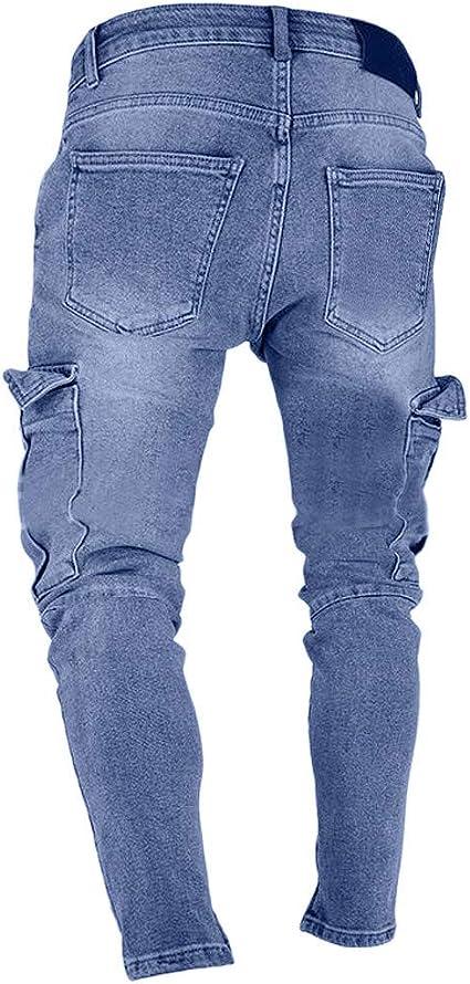 FSSE-Men Regular Fit Ripped Drawstring Summer Straight Leg Denim Shorts Jeans