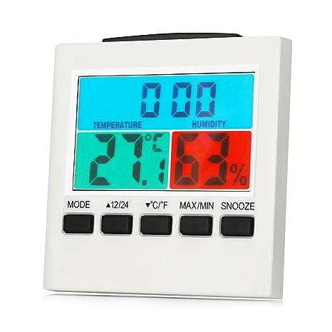 ilifesmart higrómetro termómetro reloj de escritorio, Digital multifuncional Sensor de temperatura interior y humedad Monitor