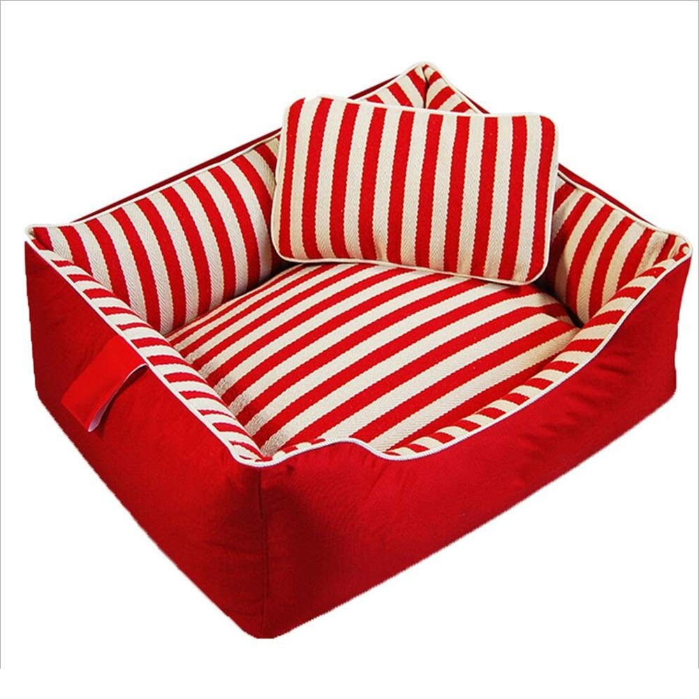 RED Small RED Small Pet Nest Pet Sofa Pet Bed Cat Nest Kennel Dog Nest Cat Kennel Stripe Detachable Washable Autumn and Winter Resistant to Dirt Haiming (color   RED, Size   S)