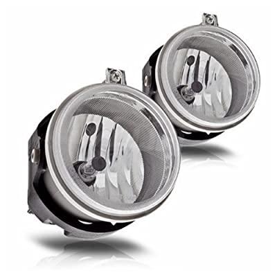 Fog Lights Compatible with Dodge Caravan Charger Challenger Caliber Chrysler Pacifica Sebring Jeep Patriot Compass (OE Style Clear Lens w/Bulbs): Automotive