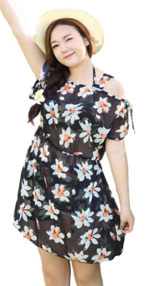 【Topics Garden】レディース 水着 ビキニ ホルターネック カバーアップ付き ビーチドレス 花柄 大きいサイズ(エコバッグ付き) B073GL8W7Y XXL|ブラック(Eカップ)