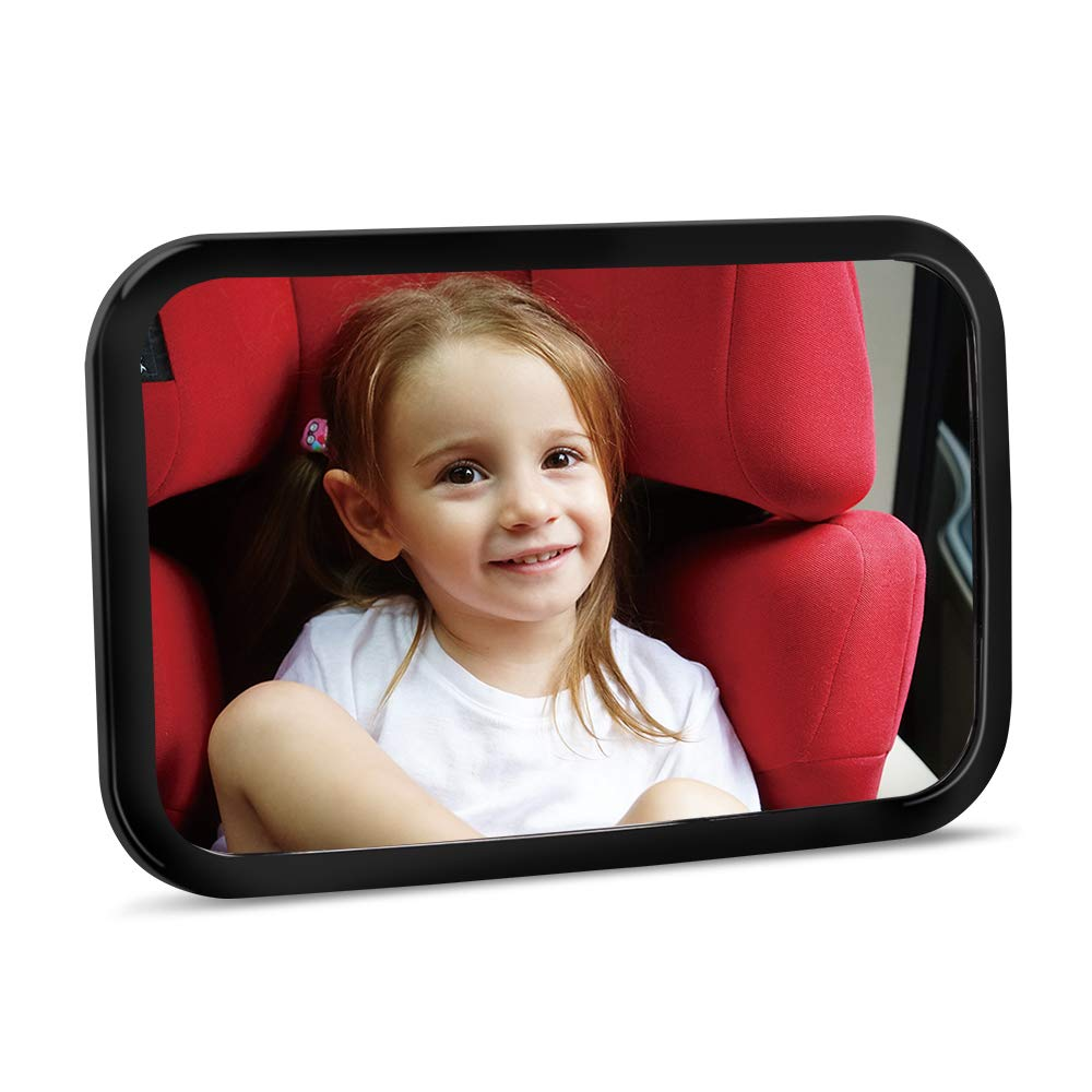 Baby Car Mirror - Crystal Clear Rear Facing Baby Mirror - Safety Certified & Crash Tested - Shatterproof Car Back Seat Mirror for Newborn Baby Infants Kids Children Toddlers - (Black) by SKYWHALE
