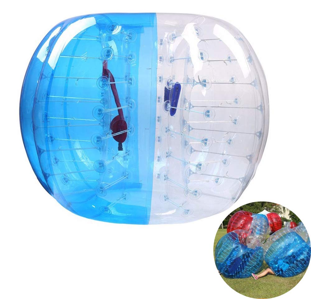 WoLoYo Transparent + Blue Bubble Inflatable Ball Bumper Human Knocker Zorb Soccer Ball PVC Material Washable Reusable for Adult and Child,1m by WoLoYo