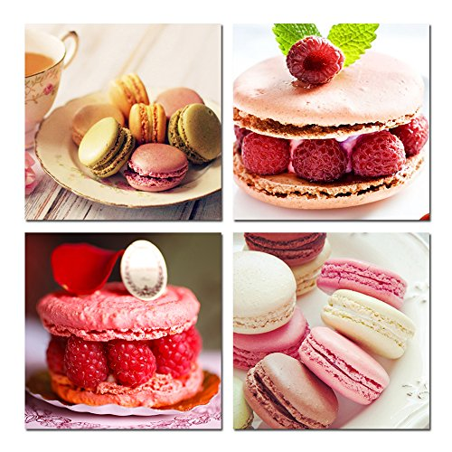 Dessert Art - TONZOM Delicious Cake Macaron Photo Print Wall Art 4 Piece Canvas Wall Art Modern Home Decor Stretched and Framed Ready to Hang Kitchen Dessert Bar Kitchen Home Wall Decor